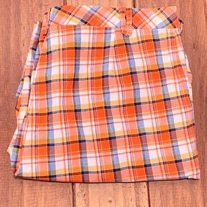 CATO Orange/Blue Plaid Bermuda Shorts, Size 16W